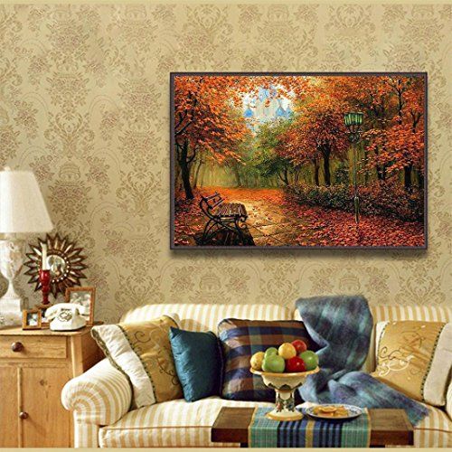 Pandaie Autumn Park 5D Diamond Painting Full Drill Kits for Adults Embroidery Cross Stitch Skins Wall Decoration For Bedroom Living room Kitchen Room Decor (all 5% off, three 10% off)