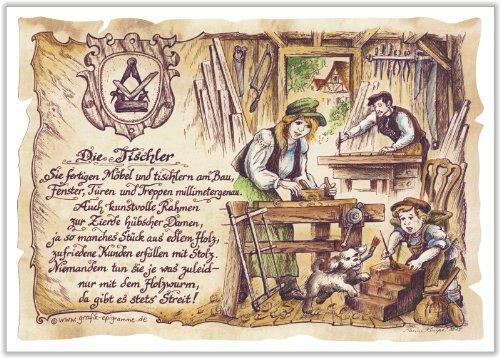 Die Staffelei Geschenk Tischler Schreiner Tischlerei Zeichnung Color 30 x 21 cm