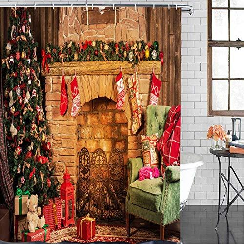 EdCott Weihnachten Retro Weihnachten Urlaub Dekoration Silvester Silvester Kamin Kunststandard mit Haken wasserdichtem Stoff Badewannenvorhang leicht zu Duschvorhang waschen