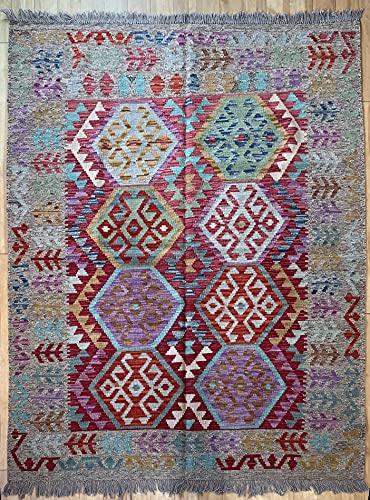 Alfombra oriental afgana, hecha a mano, de lana, colores naturales, estilo afgano, turco, nómada persa, tradicional, 155 x 196 cm, estilo vintage, pasillo y escalera reversible