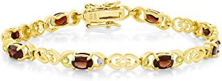 5.00 Ct Garnet 18K Gold Plated Sterling Silver 7 Inch Bracelet with Diamond Accent