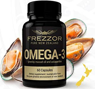 FREZZOR OMEGA-3 BLACK, Made in New Zealand, Cold-Extracted Green Lipped Mussel Oil Concentrate, 18 Essential-Fatty-Acids Anti-Inflammatory, 13 Antioxidants, Joint & Pain Relief, Burpless Softgels, AS SEEN ON TV!