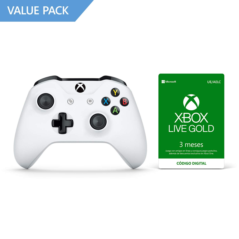 Microsoft - Mando Inalámbrico, Blanco (PC, Xbox One S) + 3 Meses De Xbox Live Gold: Amazon.es: Videojuegos