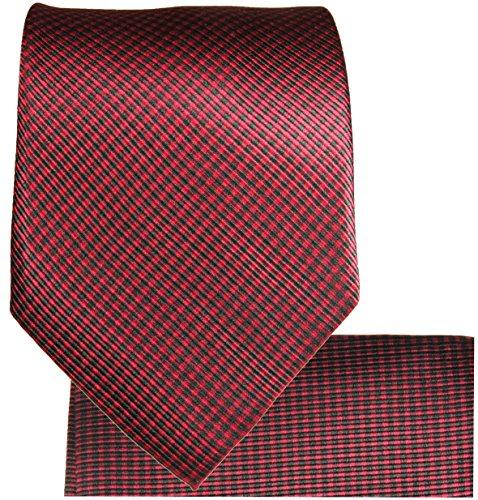 Cravate homme rouge noire ensemble de cravate 3 Pièces (longueur 165cm)