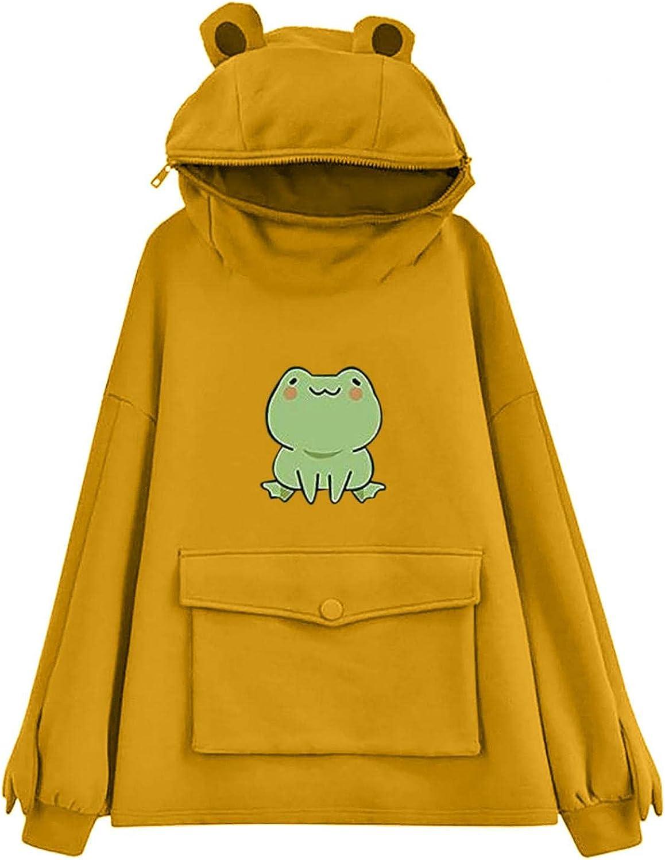 Gerichy Hoodies for Women Teen Girls Frog Print Hoodies Hooded Sweatshirts Long Sleeve Cute Fashion Pullover Tops