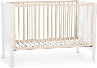 kk Kinderkraft Kinderbett MIA, Babybett aus Holz, Gitterbett, Bettumrandung, 3 Stufen Höhenverstellbar, von Geburt bis zu Höhe 120 cm, Weiß