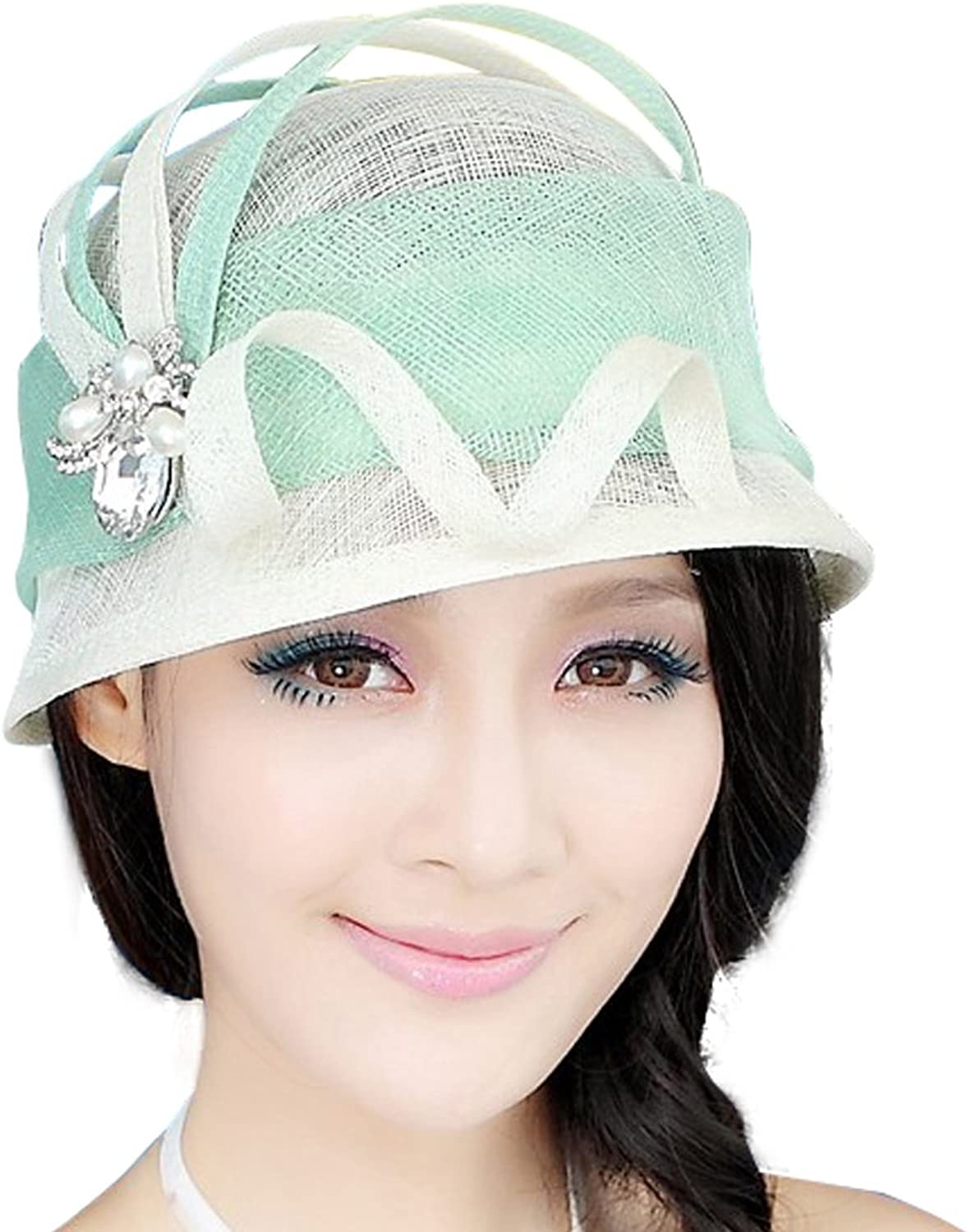 June's Young Women Hat Sinamay Ribbon Brooch Elegant Fashionable Summer Hat
