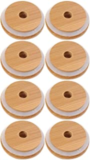 Cabilock 8pcs Wooden Jar Lids Reusable Bamboo Caps Lids with Holes and Silicone Ring for Mason Jars Canning Drinking Jars