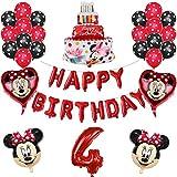 ENXI Globos 1set Disney Minnie Mickey Mouse Party Globos Baby Shower Fiesta de cumpleaños Decoraciones para niños Globos Infantiles Boy Girls Supplies ( Color : Red4 )