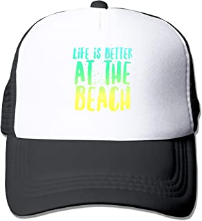 c64d1e479b5005 Life is Better On Beach Surf Hawaiian Mesh Baseball Cap Unisex Style Hats  Black