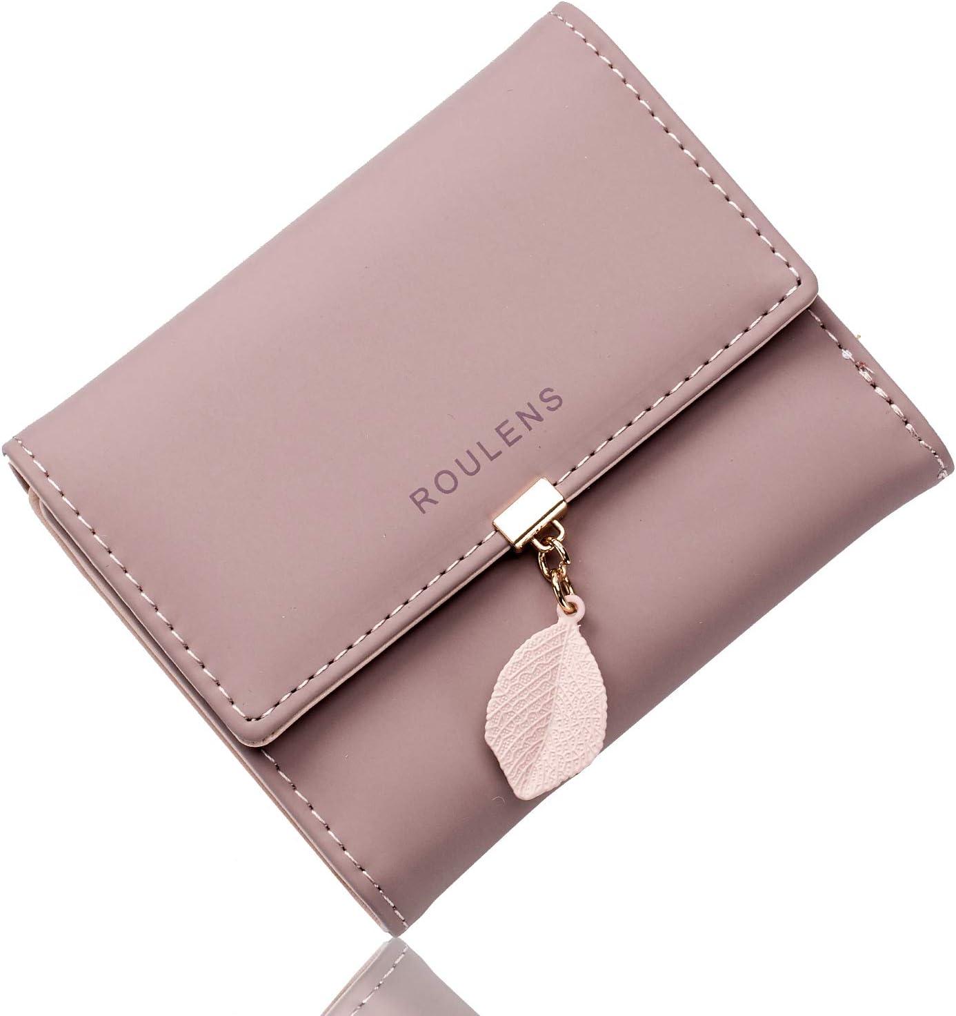 Portafoglio in pelle PU ROULENS per borsa lunga da donna con ciondolo foglia con cerniera