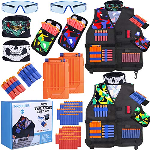 INNOCHEER Kids Tactical Vest Kit 2 Pack Compatible with Nerf Guns N-Strike Elite Series with 120 Pcs Refill Darts, 2 Reload Clips, 2 Face Masks, 2 Wrist Bands, 2 Dart Pouchs, 2 Protective Glasses
