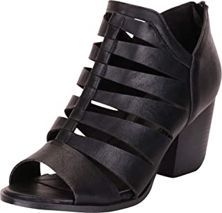 Cambridge Select Women's Open Toe Cutout Caged Chunky Block Heel Ankle Bootie