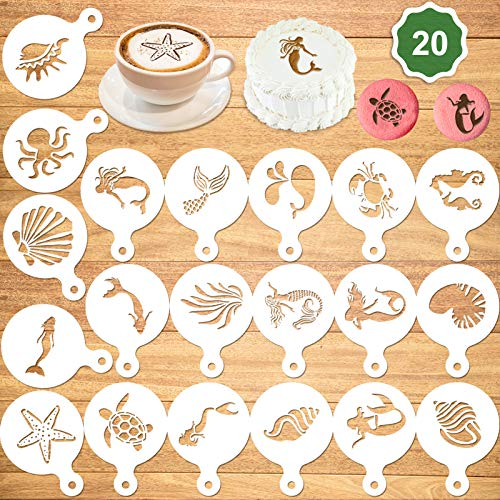 Konsait 20Pack Mermaid Cake Stencil Templates Decoration, Reusable Mermaid Cake Cookies Baking Painting Mold Tools,Dessert, Coffee Decorating Molds Birthday Party Favors Great Kids Party Accessories