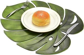 DUDNJC Lot de 6 sets de table en papier motif feuilles de palmier tropicales - Isolation thermique - Antidérapants - Thème...