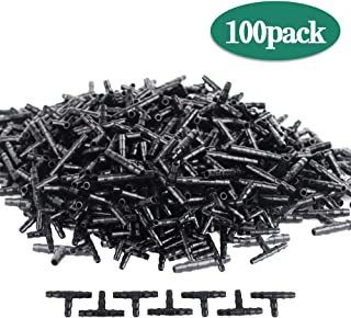Lhx Three-Way Drip Irrigation Connector Hose Barb Connector Suitable for Sprinkler Irrigation Irrigation System 4mm/7mm Pipes (100 pcs) (Black03)