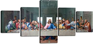 Wall Decor for Living Room The Last Supper,Leonardo Da Vinci Classic Wal Art,5 Piece Oil Painting on Canvas Print and Muse...