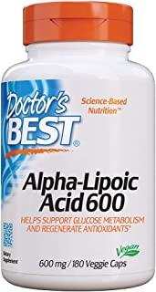 Doctor's Best Alpha-Lipoic Acid, Non-GMO, Gluten Free, Vegan, Soy Free, Helps Maintain Blood Sugar Levels, 600 mg 180 Vegg...