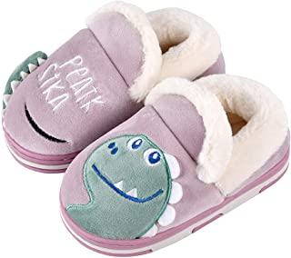 SITAILE Toddler Boys Girls House Slippers,Kids Fur Lined Warm Slip On Home Slippers Cute Winter Nonslip Indoor Slippers