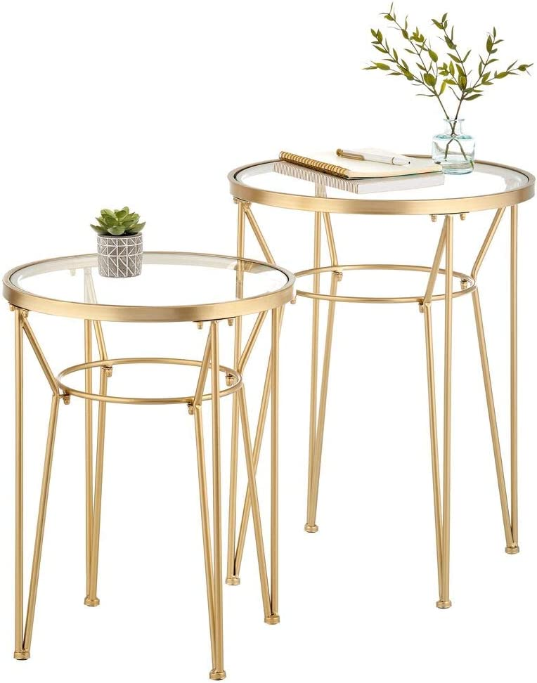 mDesign Round Metal & Glass in-Lay Accent Table with Hairpin Legs- Side/End Table - Decorative Legs, GlassTop - Home Decor Accent Furniture for Living Room, Bedroom - 2 Pack - Soft Brass/Clear