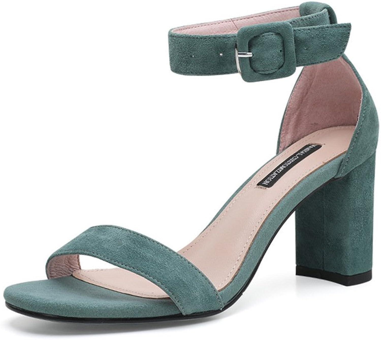 ISNOM 7.5 cm Heels Summer Suede Sandals Vintage Ankle Strap Gladiator Sandals for Women