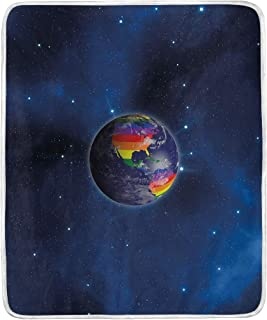 YOLIKA Pride Decorations Earth from Space Continents LGBT Colors Universal Worldwide Love Freedom Decorativ Super Soft Throw Blanket Bed Couch Lightweight All Season 50