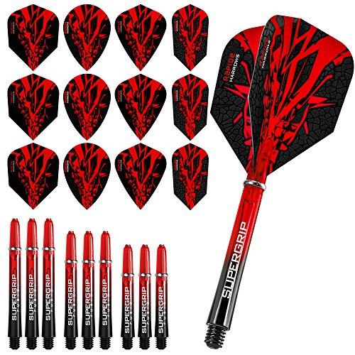 Darts Corner Harrows Rapide Fusion X Combo Kit – Juego de dardos y ejes – Rojo – Incluye bolígrafo curvo
