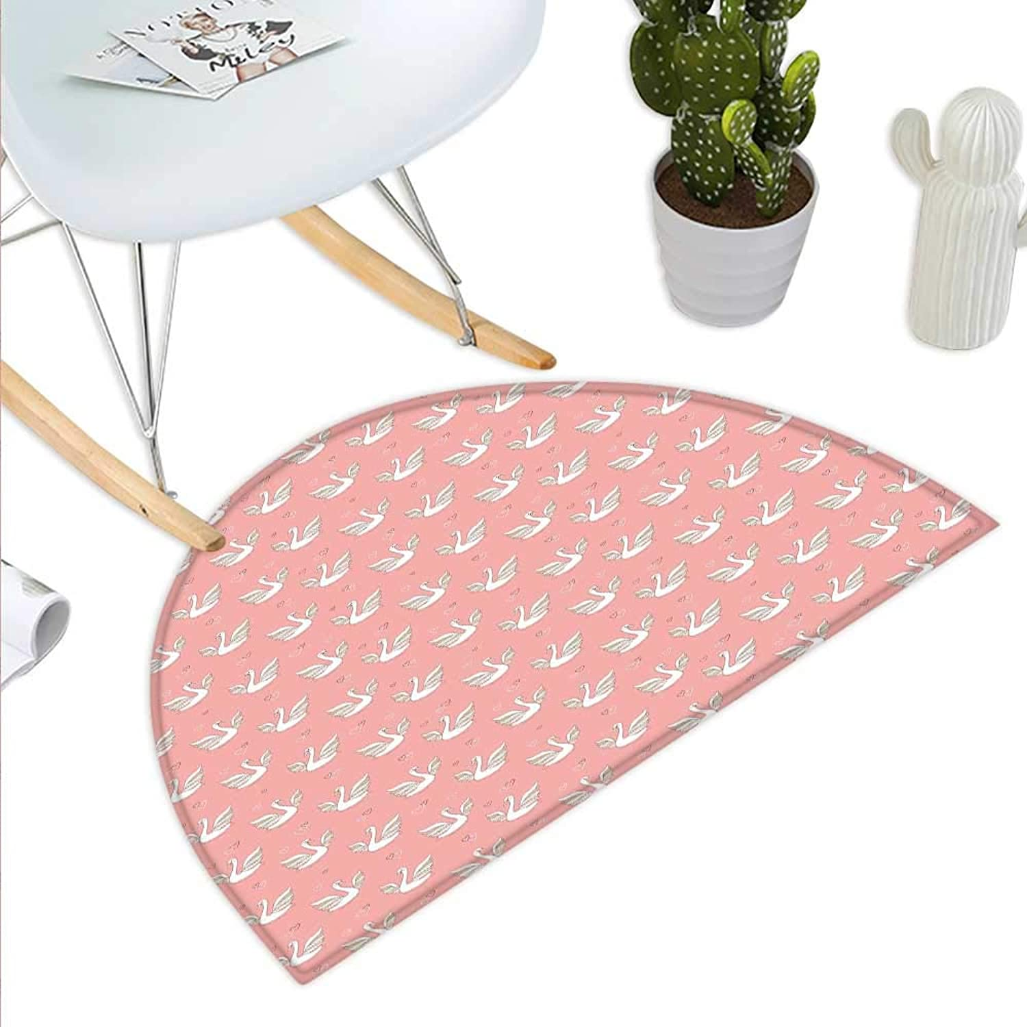 Swan Semicircle Doormat Hand Drawn Style White Birds on Coral Backdrop with Patterned Wings and Little Hearts Halfmoon doormats H 39.3  xD 59  Multicolor