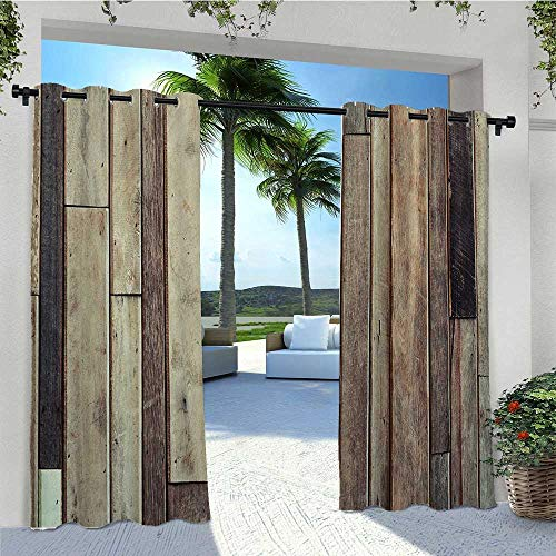 Blackout Curtains Antique Old Planks Flooring Wall Picture Style Western Rustic Panel Graphic Print Anti-Uv Windproof Curtains Works Well with Your Patio Brown W72 x L96 Inch