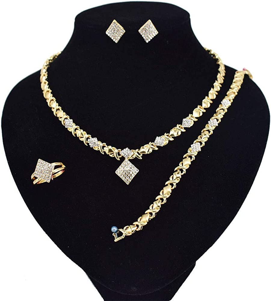 Women's Girls Hugs & Kisses XOXO 4 Pieces Necklace Set Includes Ring Bracelet & Earrings - Jewelry Set Real Gold Plated