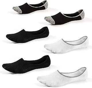 6 Pares Calcetines Invisibles para Hombres y Mujeres Corte bajo No Show Calcetines Antideslizantes para Verano Otoño