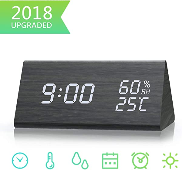 TooTa Digital Clock 3 Alarm Settings With Wooden Electronic LED Time Display Dual Temperature Humidity Detect Ideal For Bedroom Bedside Kids Batteries Not Needed Black