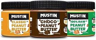 Mustin Raw Peanut Butter Chunky(340g) | Classic Peanut Butter Chunky(340g) | Chocolate Peanut Butter (340g)