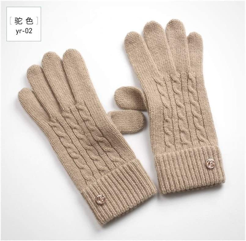 Winter Gloves Lady's Wool Gloves Touch Screen Touch Warm Single Layer Cold Simple Pure Cashmere Gloves (Color : Camel, Size : One Size)