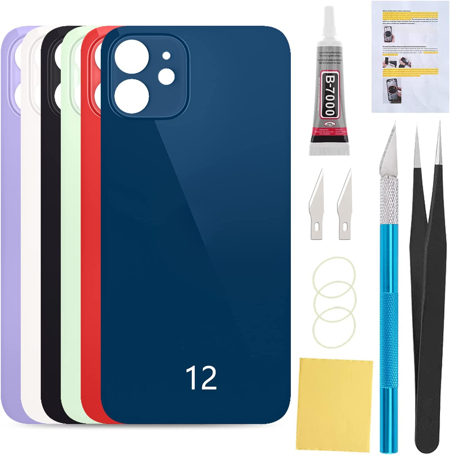 UooFide Back Rear Cover Glass Replacement Compatible with iPhone 12 6.1-Inches All Carriers with Installation Manual + Repair Tool Kit (Blue)