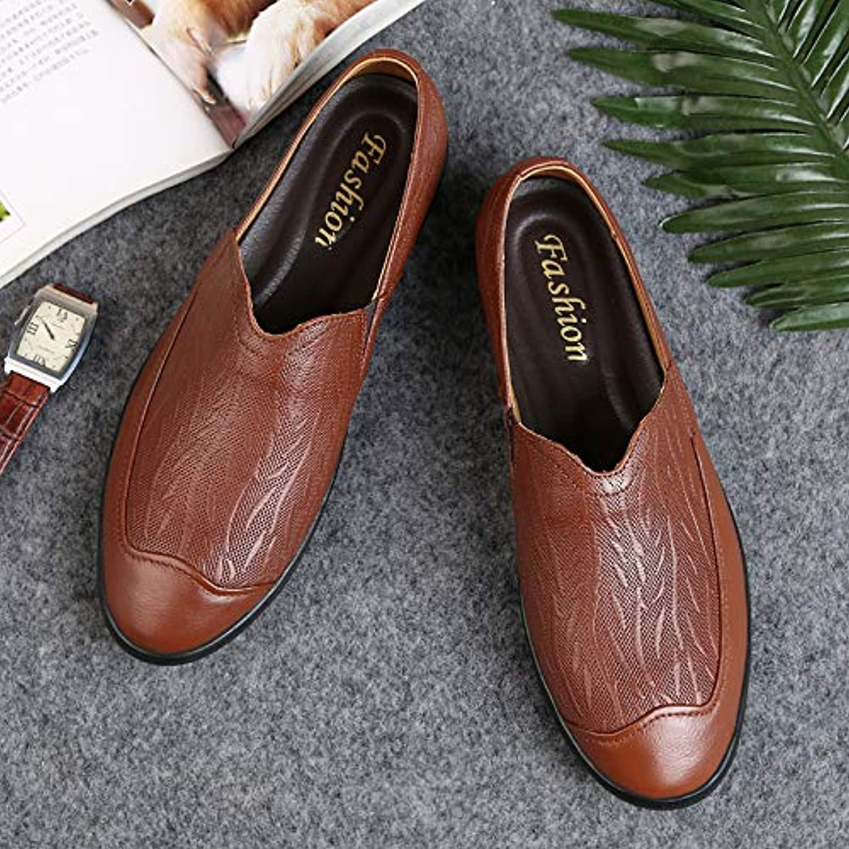 LOVDRAM Men's shoes Spring Fashion Men'S Leather shoes Leather Fashion shoes Set Foot Lazy shoes Wear Breathable Men'S shoes Leather