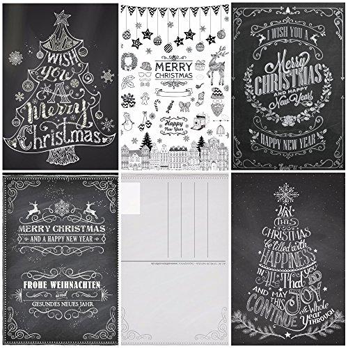 50 cartoline di natale in gesso / set anni '50 di cartoline natalizie nostalgiche (5 motivi x 10 pezzi = 50 pezzi) in bianco e nero in stile retrò / vintage di EDITION COLIBRI (10747-51)