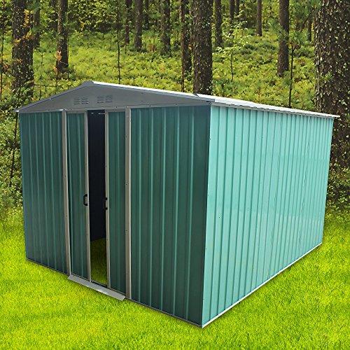 Metal Garden Storage Shed Metal Flat Roof Shed Door at 8FT side (8x10')