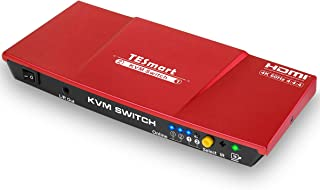 TESmart hdmi KVM 切替器 2ポート 切り替え 2入力1出力 KVM セレクター バージョン4 K Ultra HD 2 x 1 HDMI KVMスイッチ 4K 60hz 4 : 4 : 4 with 2個の5フィートKVMケーブルは、USB 2.0デバイスコントロールUp to 2コンピュータ/サーバ/DVR (2ポート 赤)