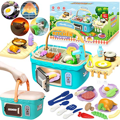 Cheffun Play Kitchen Set toys for Kids  Educational Pretend Play Camping Picnic BBQ Sink Toy Cooking Grill Basket with Musical Light Color Changing Food for Toddlers Age 3 4 5 6 7 Year Old Girls Boys