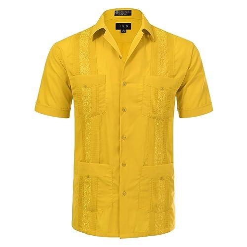 19c3f10d7d3 JD Apparel Men's Short Sleeve Cuban Guayabera Shirts