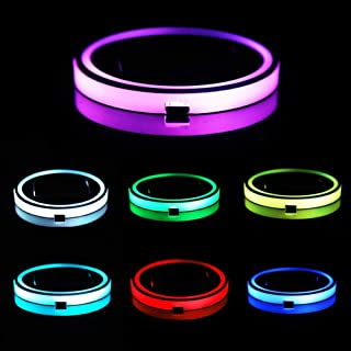 LED Auto Cup Holder Lichter 7 Farben /ändernden USB-Ladematte Luminescent Cup Pad LED-Innenraum-Atmosph/äre Lampe