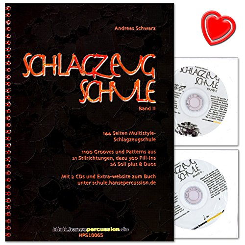 Schlagzeugschule Band 2 von Andreas Schwarz - 1100 Grooves und Patterns aus 21 Stilrichtungen, dazu 300 Fill-Ins - 26 Soli plus 8 Duos - Lehrbuch mit 2 CDs und bunter herzförmiger Notenklammer