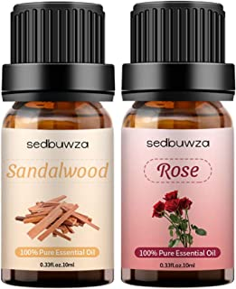 Sedbuwza 2 Pack Rose Sandalwood Essential Oil Set Organic Therapeutic Grade 100% Pure Aromatherapy Gift Oils for Massage