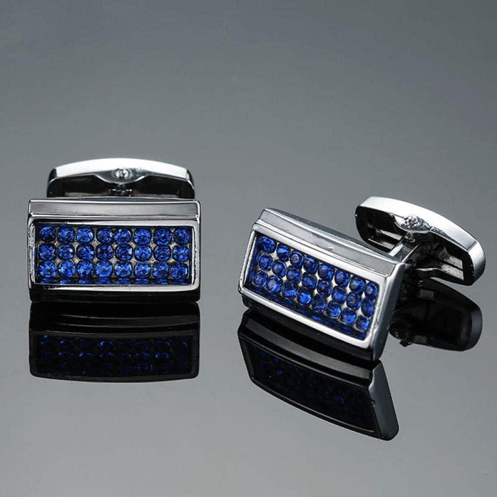 WOYAO Mens Cufflinks Accessories Cufflinks and Studs High-End Men S Jewelry Luxury Design Level Hourglass Blue Crystal Cufflinks Men S French Shirt Cufflinks-L