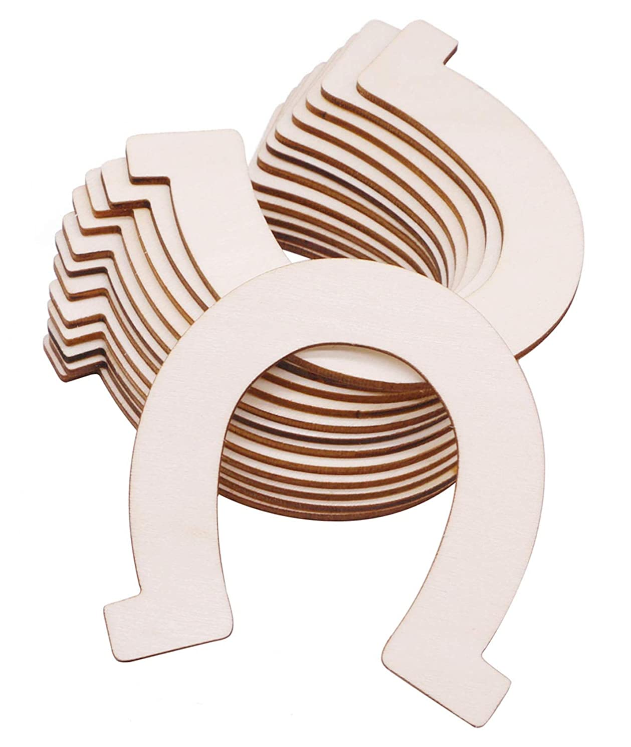 VERNUOS 24 Pcs Unfinished Wood Horseshoe Cutouts for DIY Craft, Wedding, Party and Birthday
