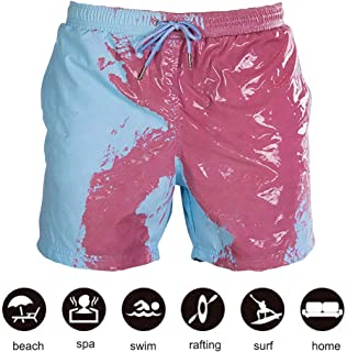 Honorall Color Changing Swimming Shorts Color Changing Swimming Trunks for Men Temperature-Sensitive Color-Changing Beach Pants Swim Trunks Shorts