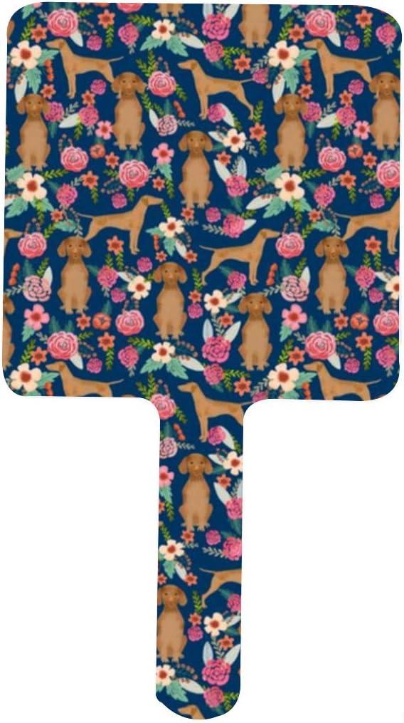 Vizsla Floral Ranking TOP19 Dog Cheap mail order sales Florals Design Portable Handle Mirror Squa