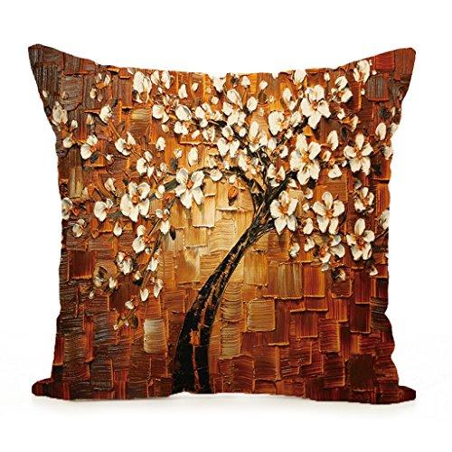 XINGYUE Funda de cojín vintage con diseño de árbol de pintura al óleo para decoración del hogar