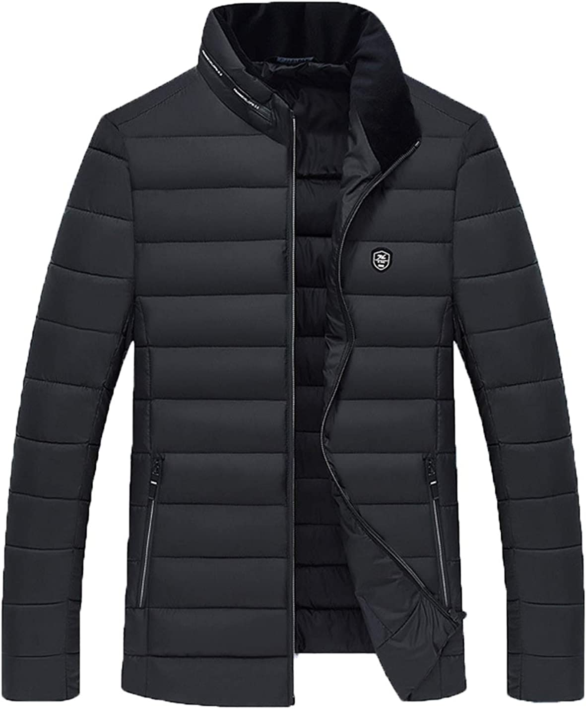 Lentta Men's Winter Warm Solid Full Zip Cotton Padded Quilted Puffy Jacket Coat
